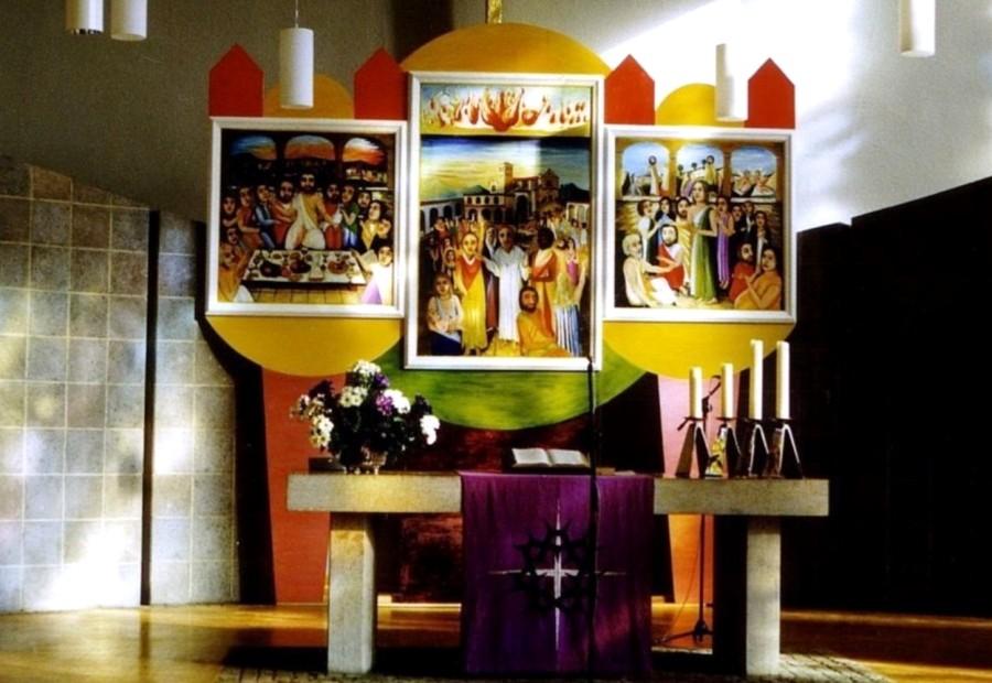 Friedensgebet von Assisi. Altar Tryptichon. 1987. Eitempera, Öl, Dispersion auf Leinwand, Seide, Holz.