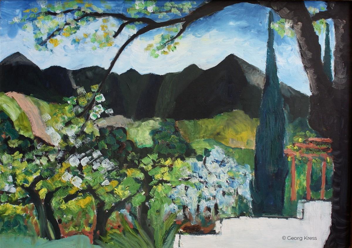 Baumbluete vor schwarzem Pratomagno. 1992. Eitempera, Öl auf Leinwand, Holz.