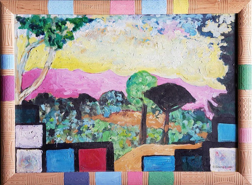 Blick auf den Pratomagno. 2007. Tempera, Öl auf Leinwand.