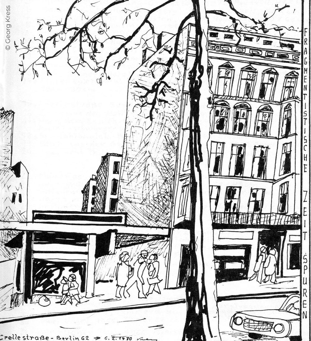 Crellestrasse Berlin am Morgen. 1980. Tusche auf Japanpapier.