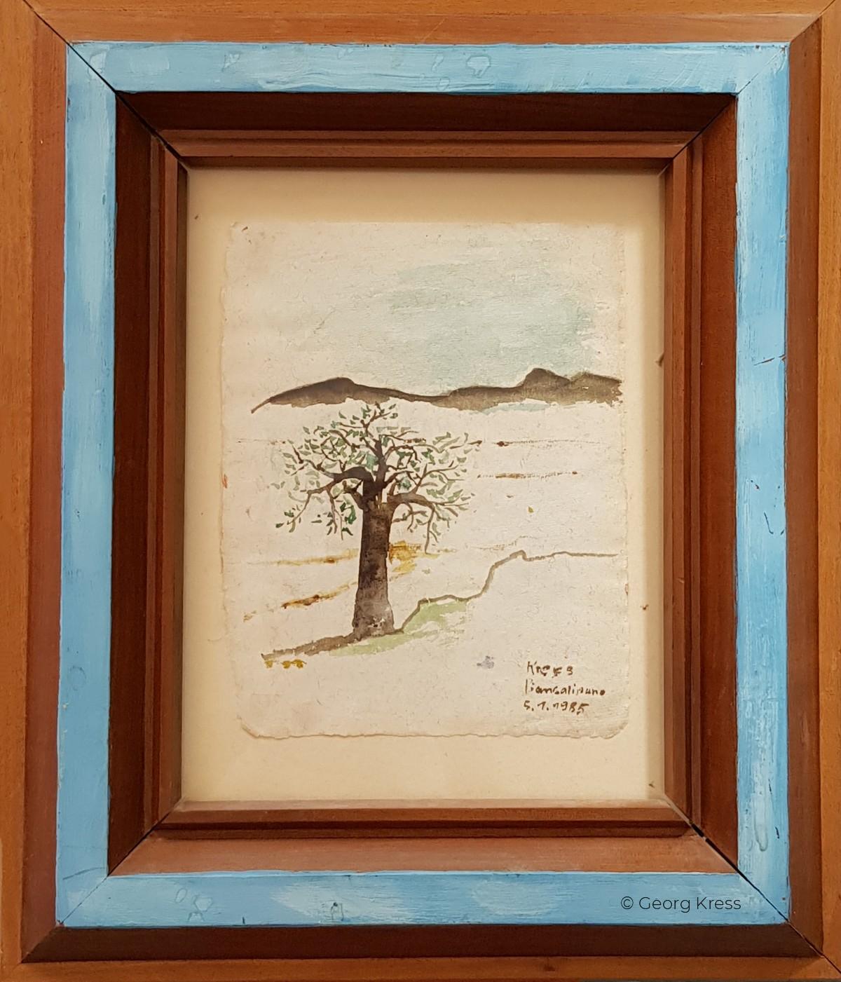 Das Valdarno im Nebel. 1985. Aquarell, Dispersion auf Japanpapier, Seide, Holz.