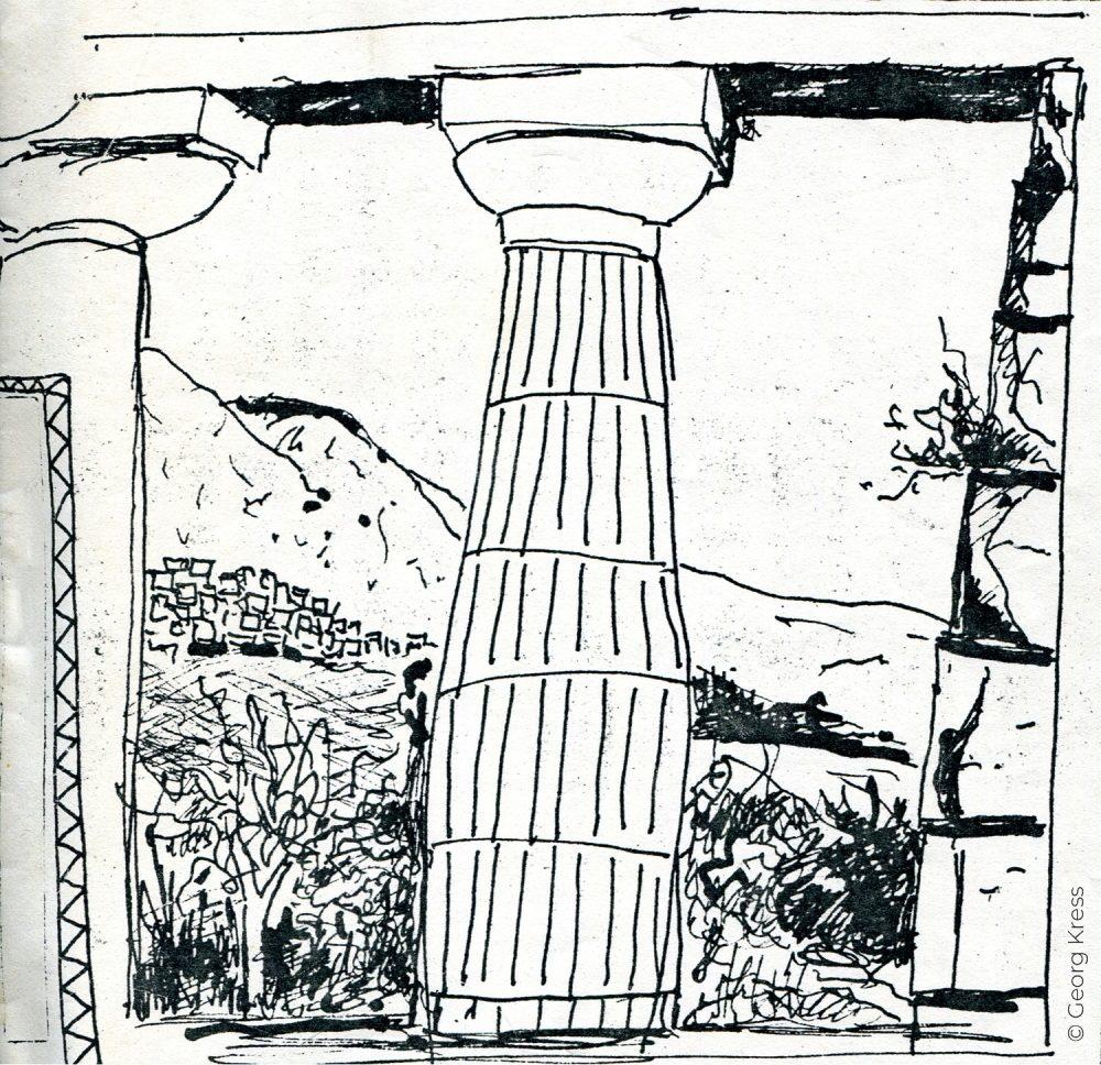 Die Saeule. 1980. Tusche auf Japanpapier.