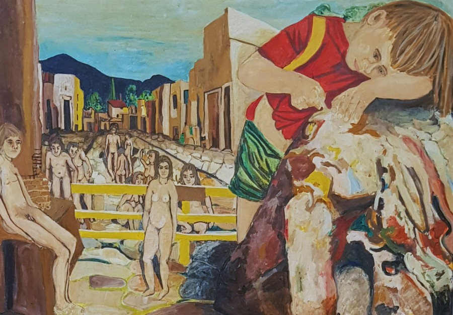 Phantasie - Traum von Pompeji. 1983. Eitempera, Öl auf Leinwand, Holz.