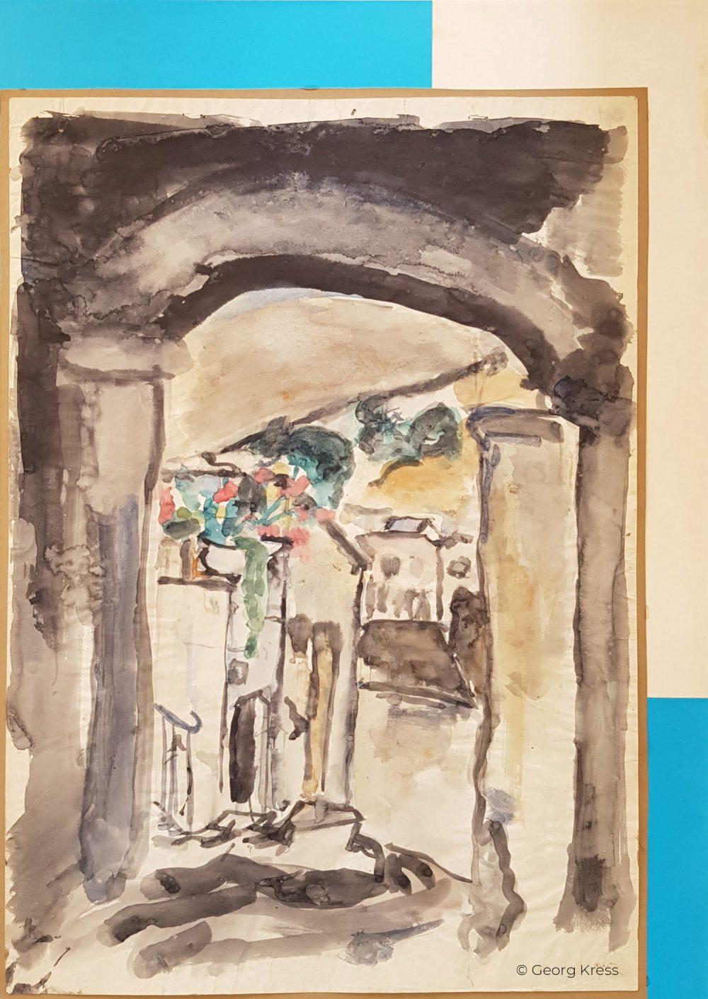 Gasse auf Mykonos. 1962. Aquarell auf Papier.