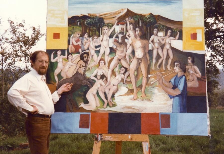 Der Künstler vor seinem Bild: Freiheit - Sieg über den Minotaurus. 1984. Eitempera, Öl, Dispersion auf Leinwand, Holz.