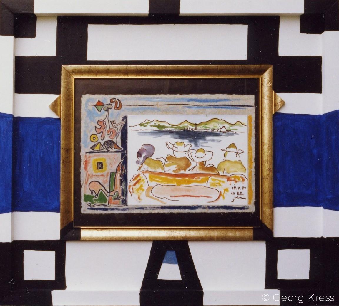 Kornati III. Freunde. 1981. Aquarell, Dispersion auf Japanpapier, Holz.
