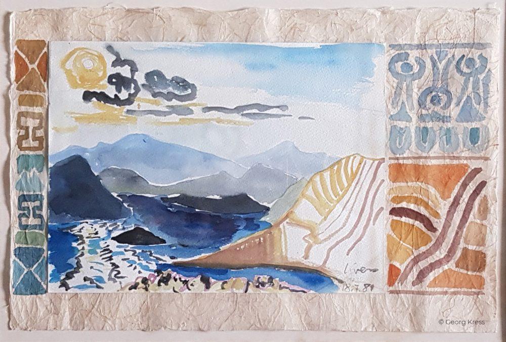 Kornati IV. Berge im Mittagsdunst. 1981. Aquarell auf Japanpapier.
