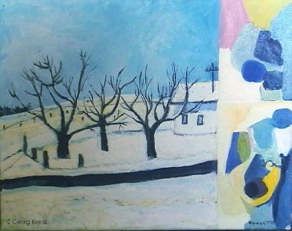 Winterbäume vor dem Haus. 1973. Eitempera.
