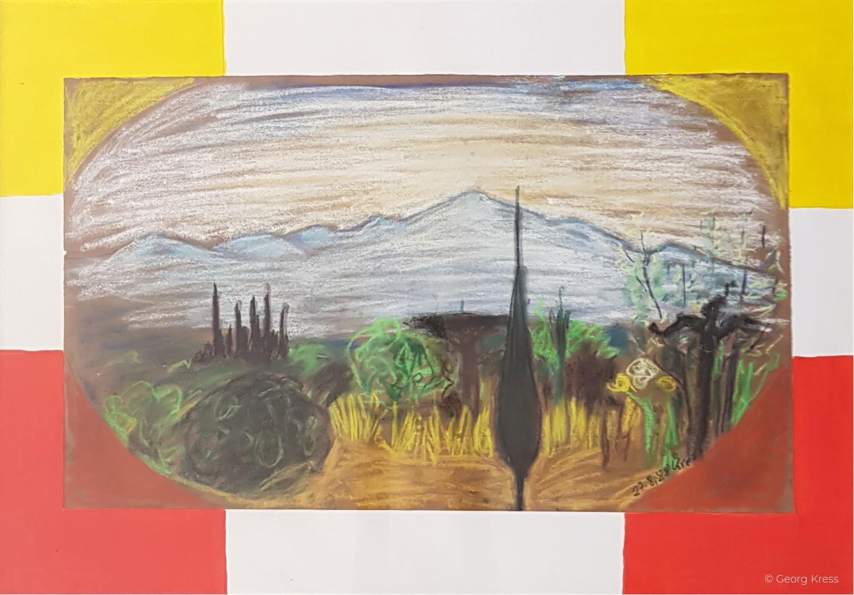Zypresse vor dem Monte Chianti. 1988. Pastell, Dispersion auf Ingres, Holz.