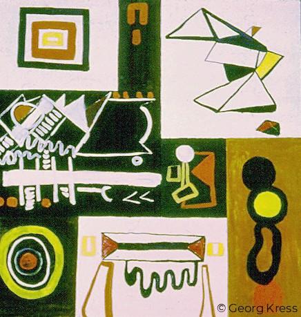 Abstraktion I. 1963. Tempera, Öl auf Leinwand.