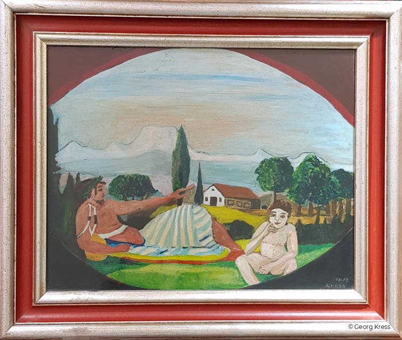 Achilles und Eros. 1983. Eitempera, Öl auf Leinwand.