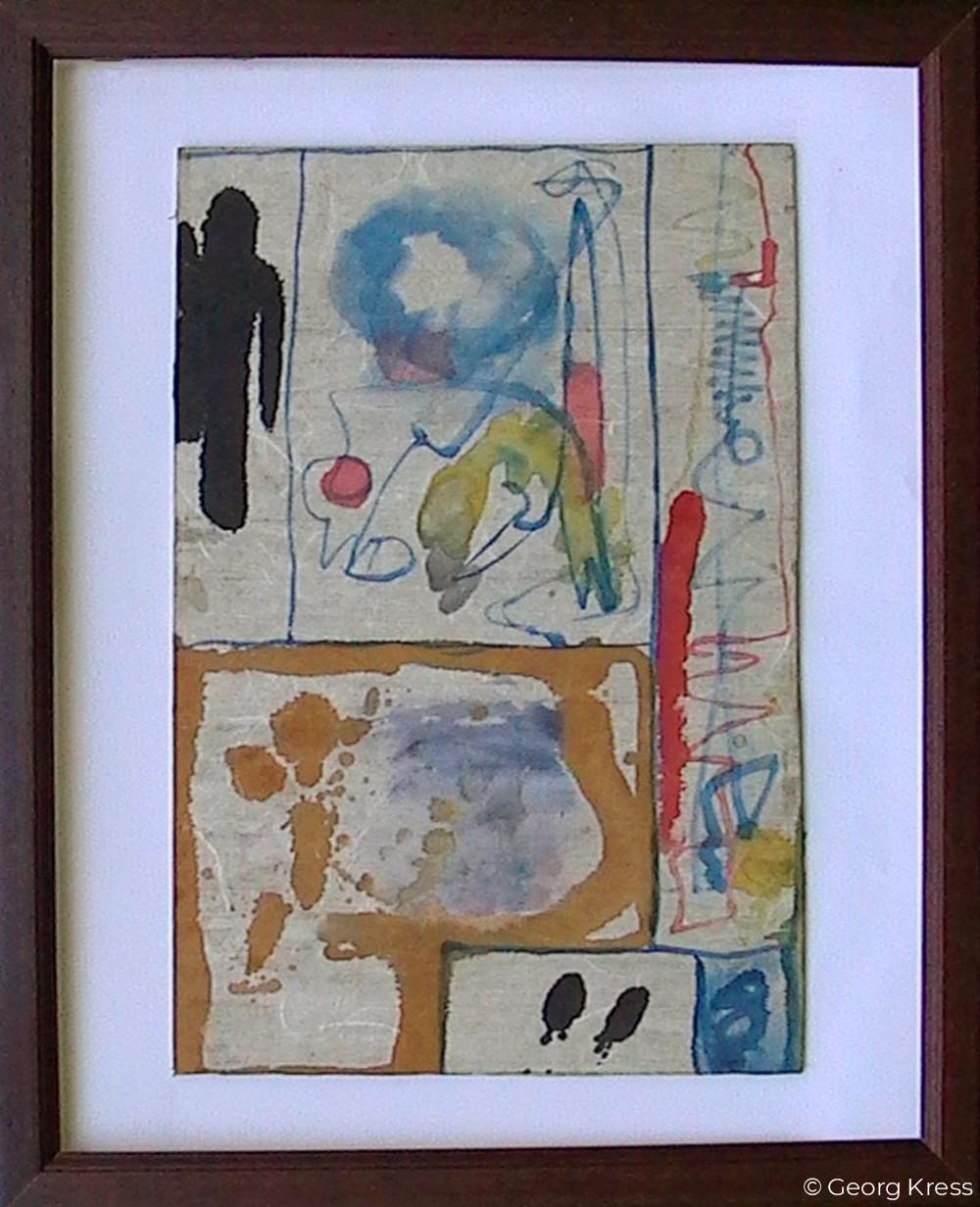 Akausal - Emotional I. 1962. Aquarell auf Papier, Holz.