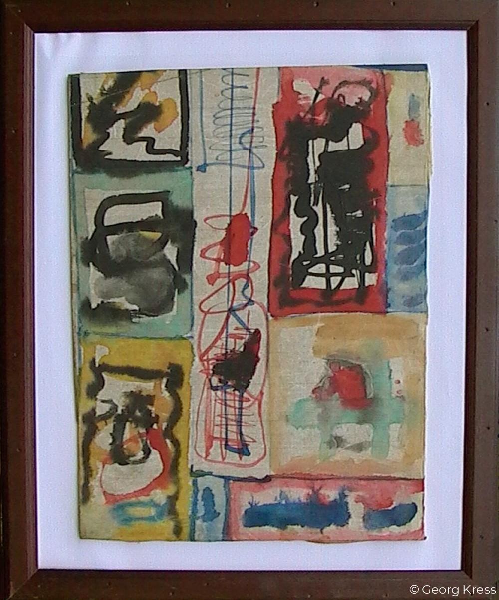 Akausal - Emotional II. 1962. Aquarell auf Papier, Holz.