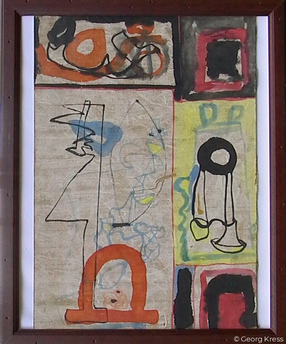 Akausal - Emotional IV. 1962. Aquarell auf Papier, Holz.