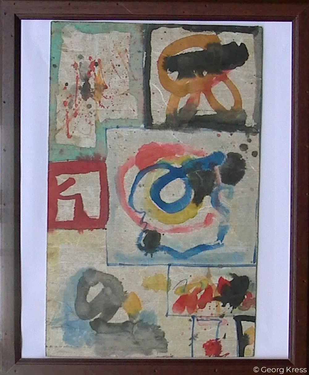 Akausal - Emotional V. 1962. Aquarell auf Papier, Holz.