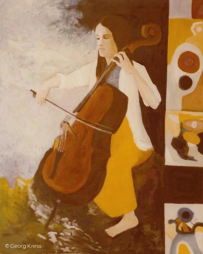 Anja am Violoncello. 1975. Eitempera.