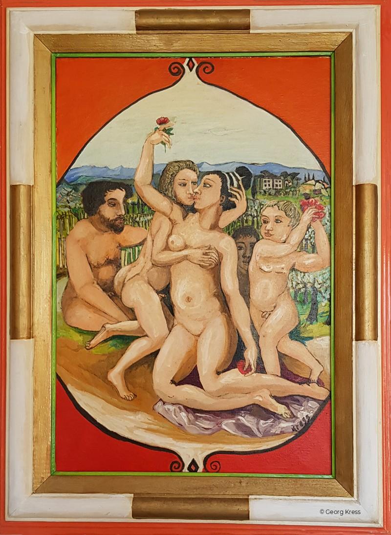 Aphrodite und Pan im Valdarno. 1984. Eitempera, Öl auf Leinwand.