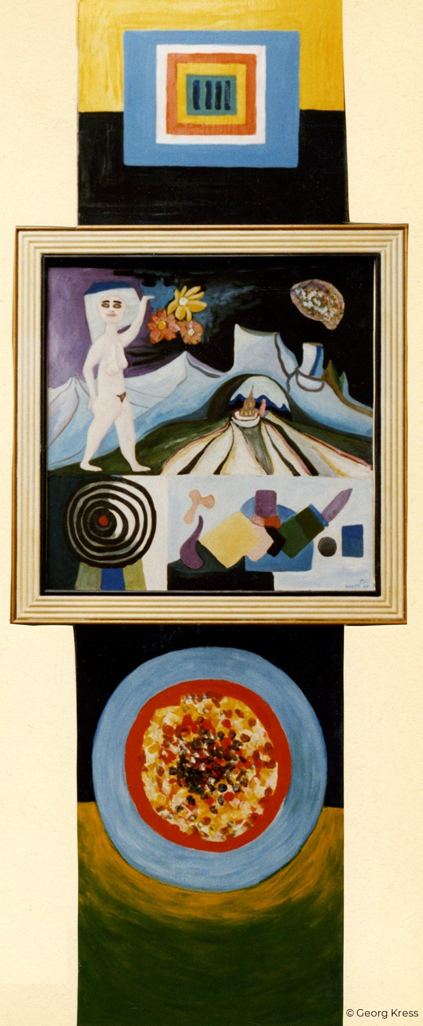 Astronautin mit Blume auf dem Mond. 1991. Eitempera, Öl, Dispersion auf Leinwand, Holz.