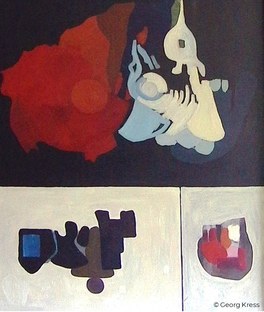 Begegnung von Materie und Antimaterie. 1965. Tempera, Öl auf Leinwand.