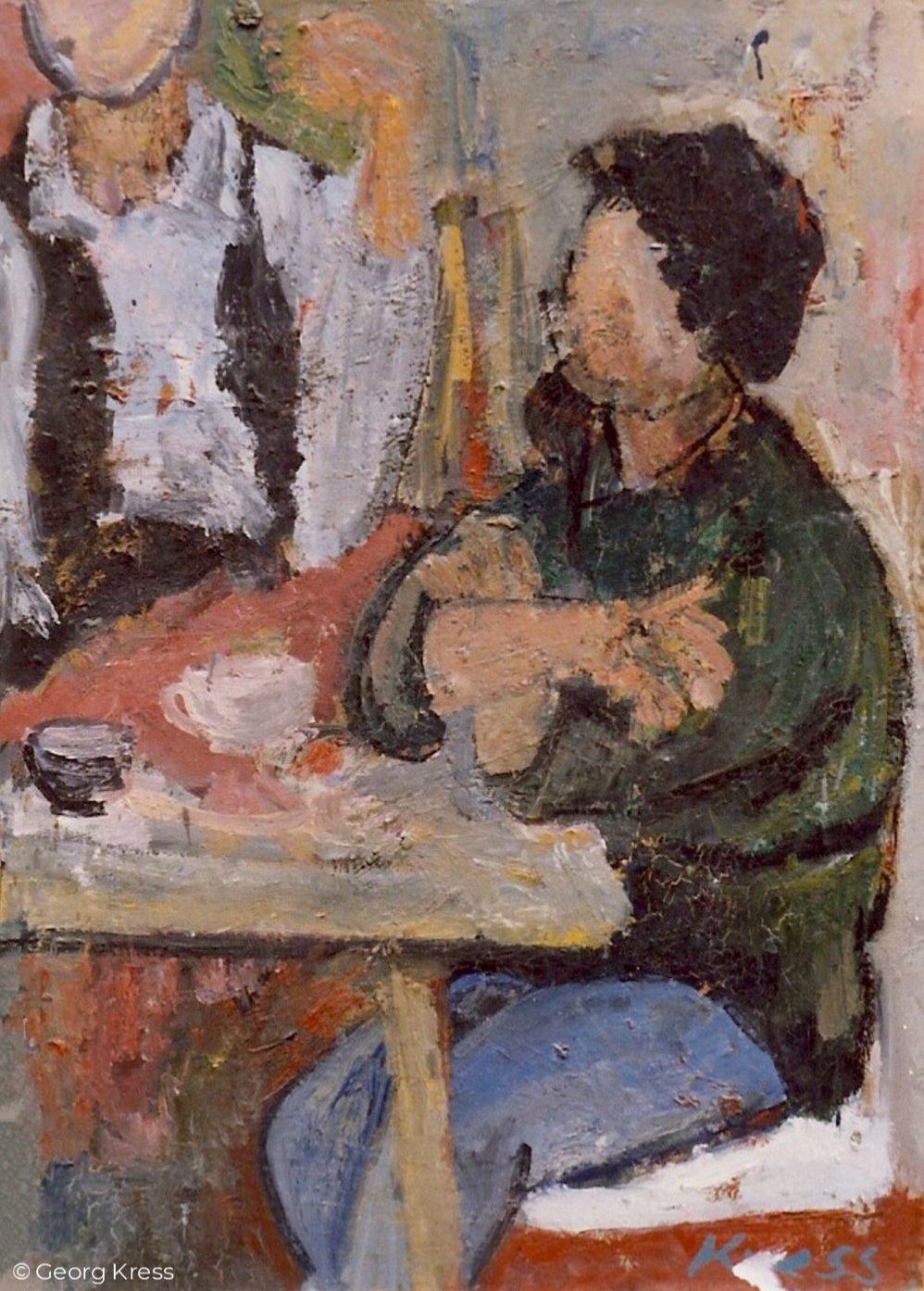 Beim Kaffeetrinken. 1959. Öl auf Hartfaser.