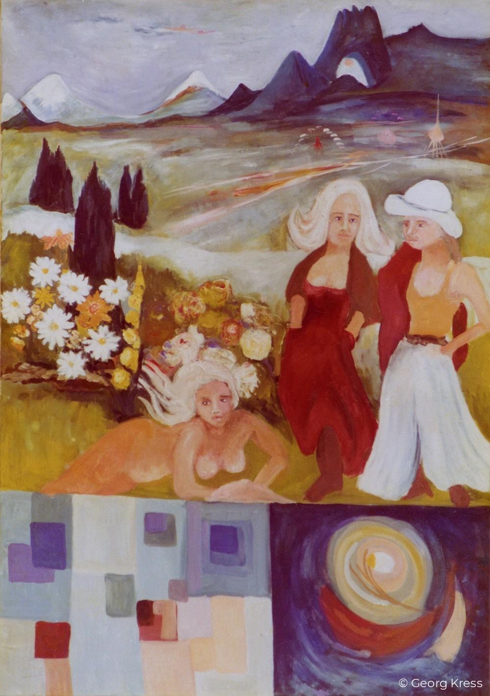 Blumen in der Landschaft. 1974. Eitempera.