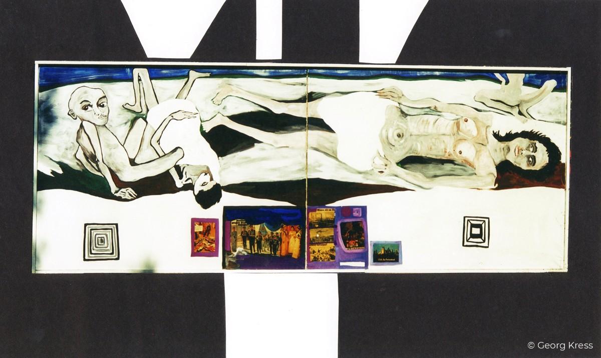 Das Schlachtfeld der Kulturen. 1993. Eitempera, Öl, Disperion, Collage auf Leinwand, Holz.