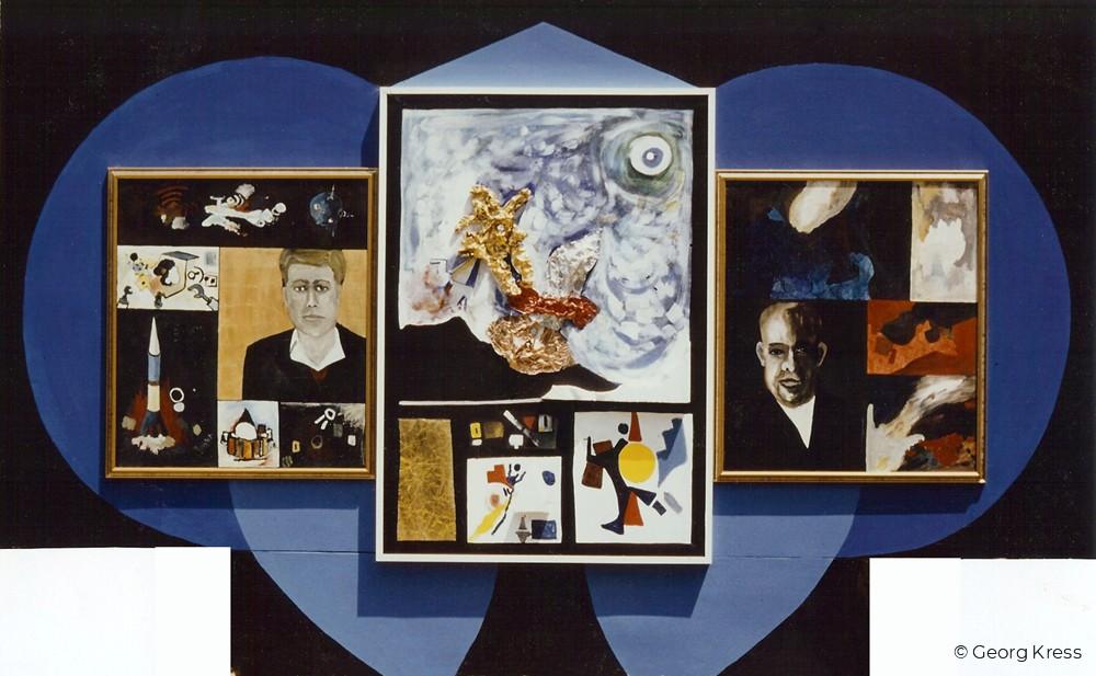 Der Mensch an seinen Grenzen V. - Intergalaktischer Flug mit Kennedy und Chruschtschow. 1987. Eitempera, Öl, Dispersion, Blattgold, Metallfolie, Styropor auf Leinwand, Holz.