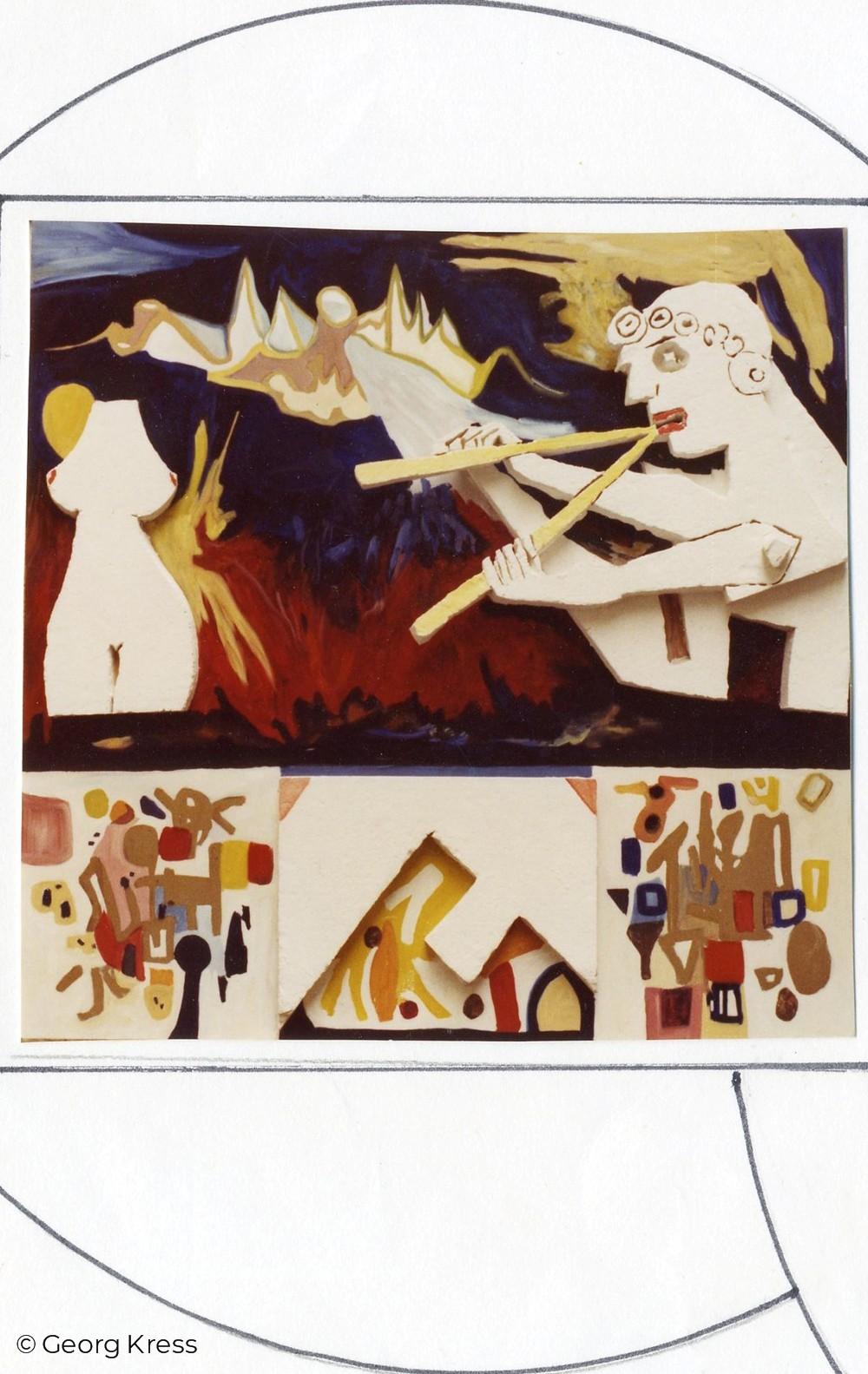 Der musizierende Pan. 1969. Styropor, Eitempera, Öl auf Holz.