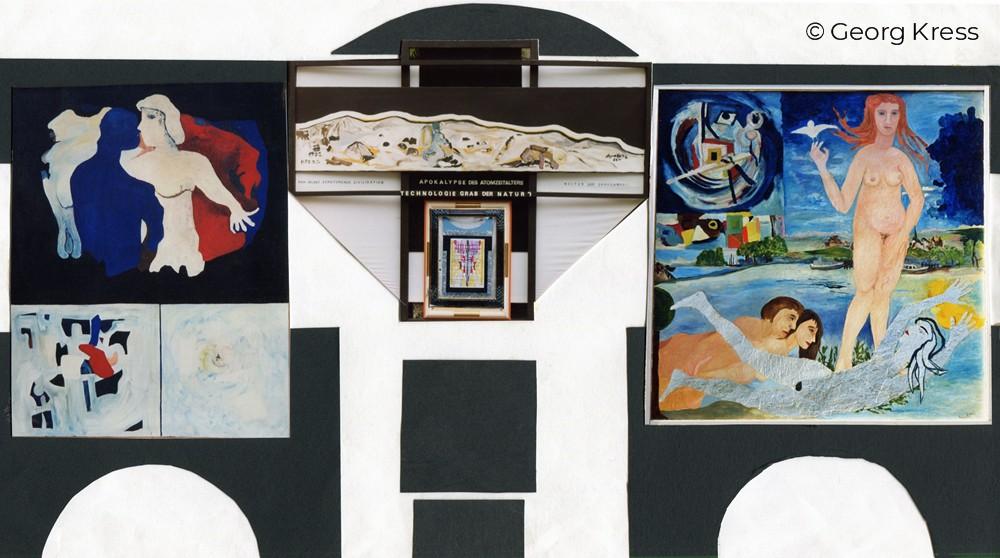 Die Geburt des Kosmos und die Mondlandung. 2001. Eitempera, Öl, Disperison auf Leinwand, Holz.