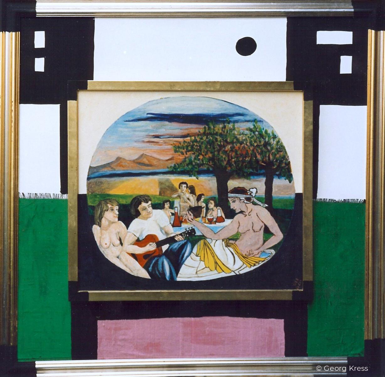 Die Hetäre beim Gelage. 1991. Eitempera, Öl auf Leinwand, Stoff, Holz.