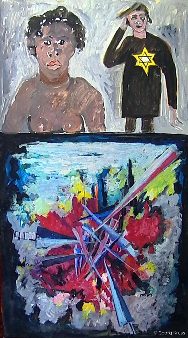 Die Zerstörung des Ich - KZ Auschwitz - Ort des Grauens. 1995. Tempera, Öl, Dispersion auf Leinwand, Holz.