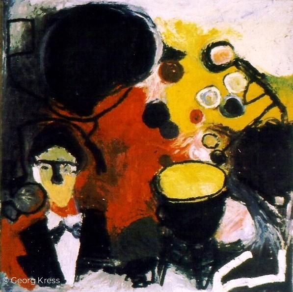 Ein Konzert von Mauricio Kagel. 1962. Tempera, Öl auf Leinwand.