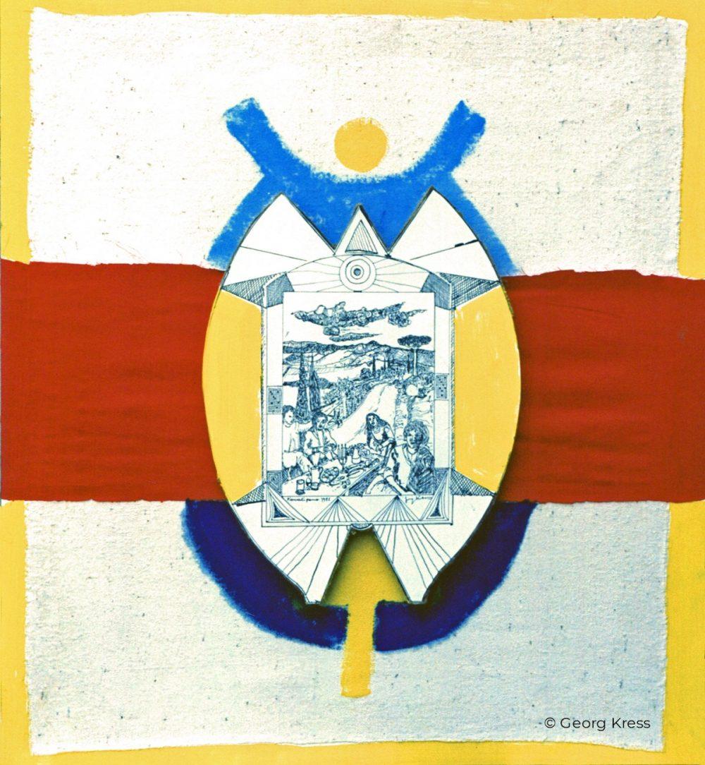 Eine Festtafel. 1991. Federzeichnung, Dispersion auf Holz, Seide.