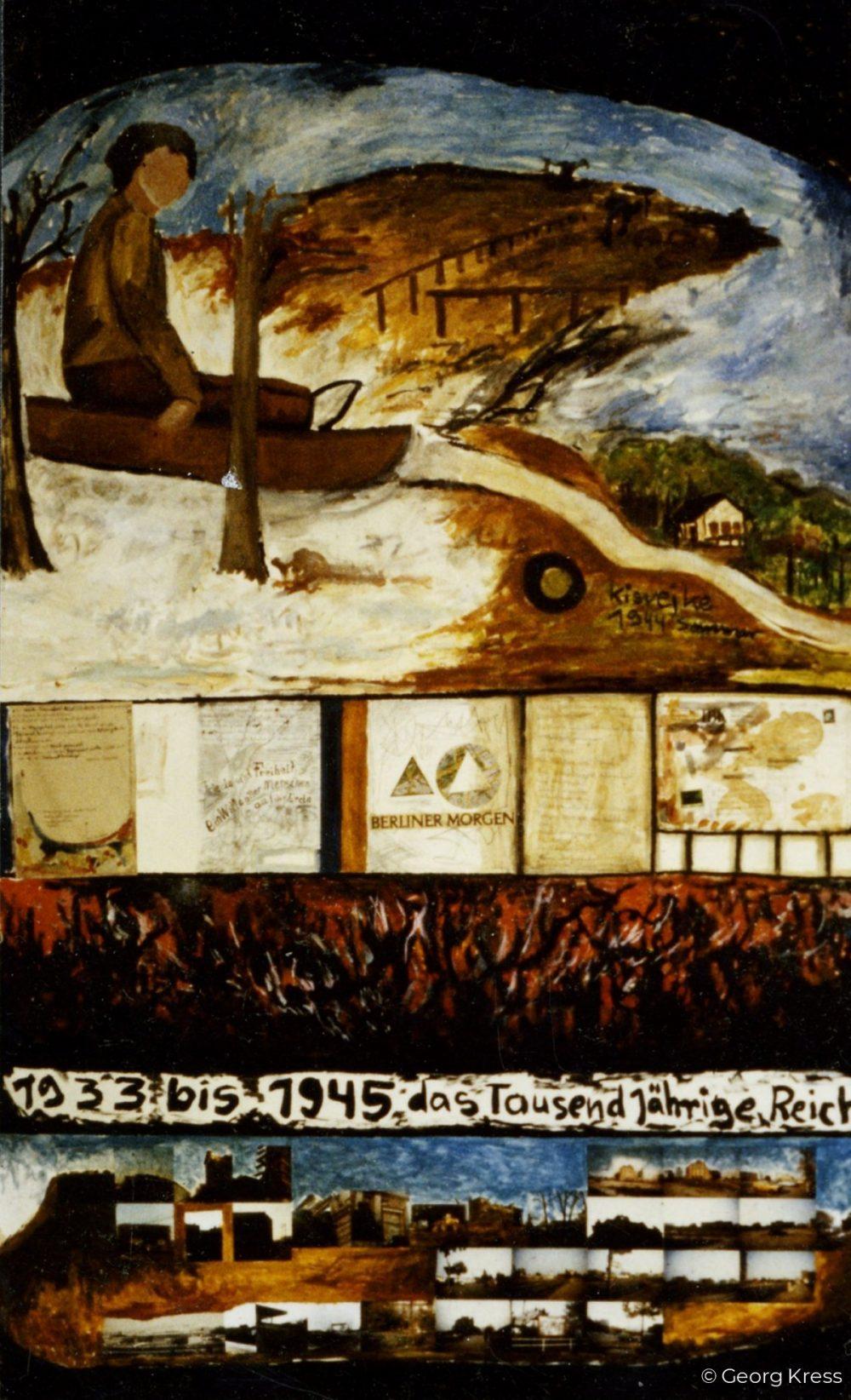 Erinnerung aus der Kindheit - Das Tausendjährige Reich. 1989. Tempera, Öl auf Papier, Holz.