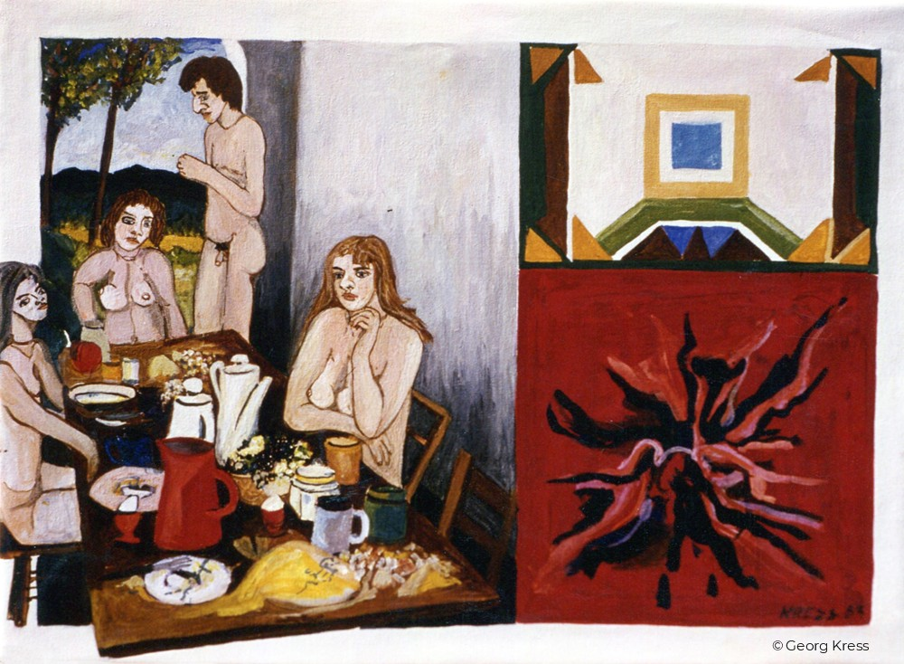 Frühstück zu viert. 1983. Eitempera, Öl auf Leinwand.