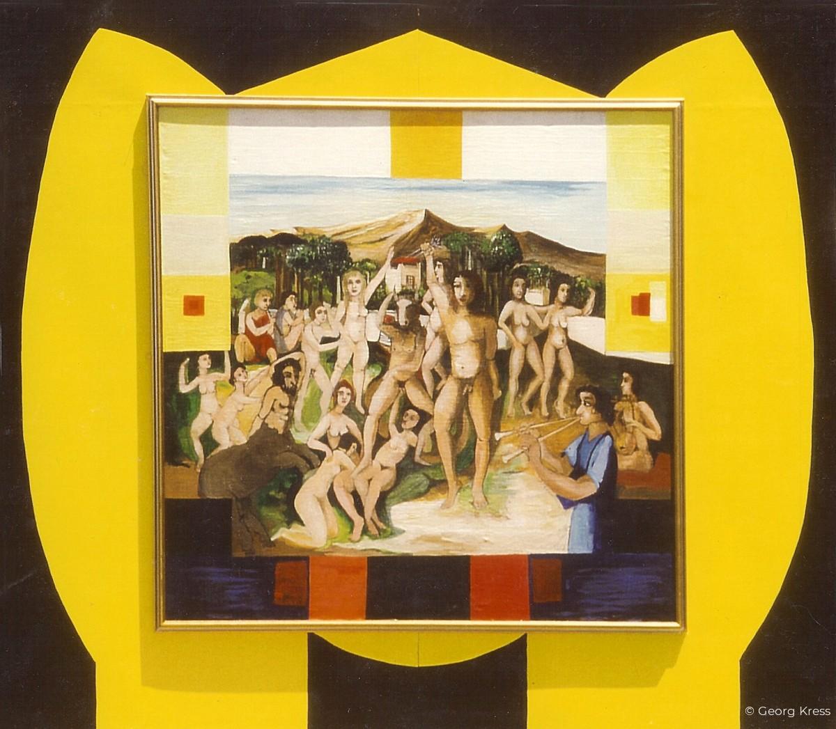 Freiheit - Sieg über den Minotaurus. 1987. Eitempera, Öl, Dispersion auf Leinwand, Holz.