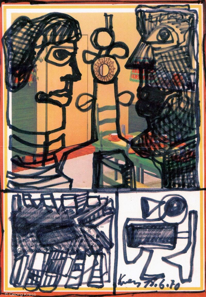 Gespräch. 1970. Filzstift auf Farbfoto, Papier.