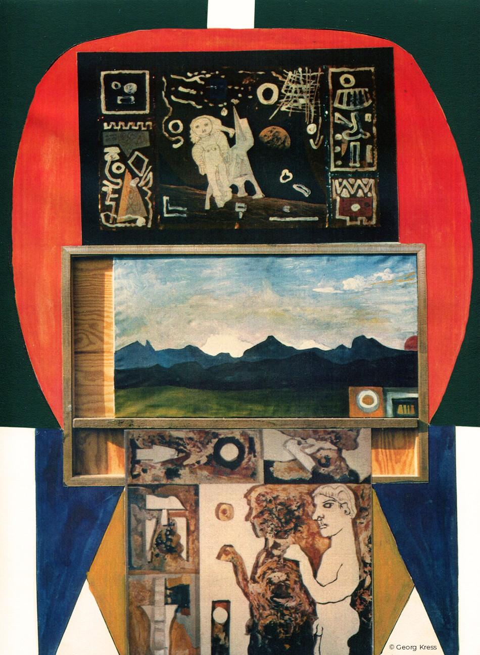 Gott, Mensch, Natur und Weltall. 1986. Eitempera, Öl, Metallfolie, Papier, Styropor auf Leinwand, Holz.