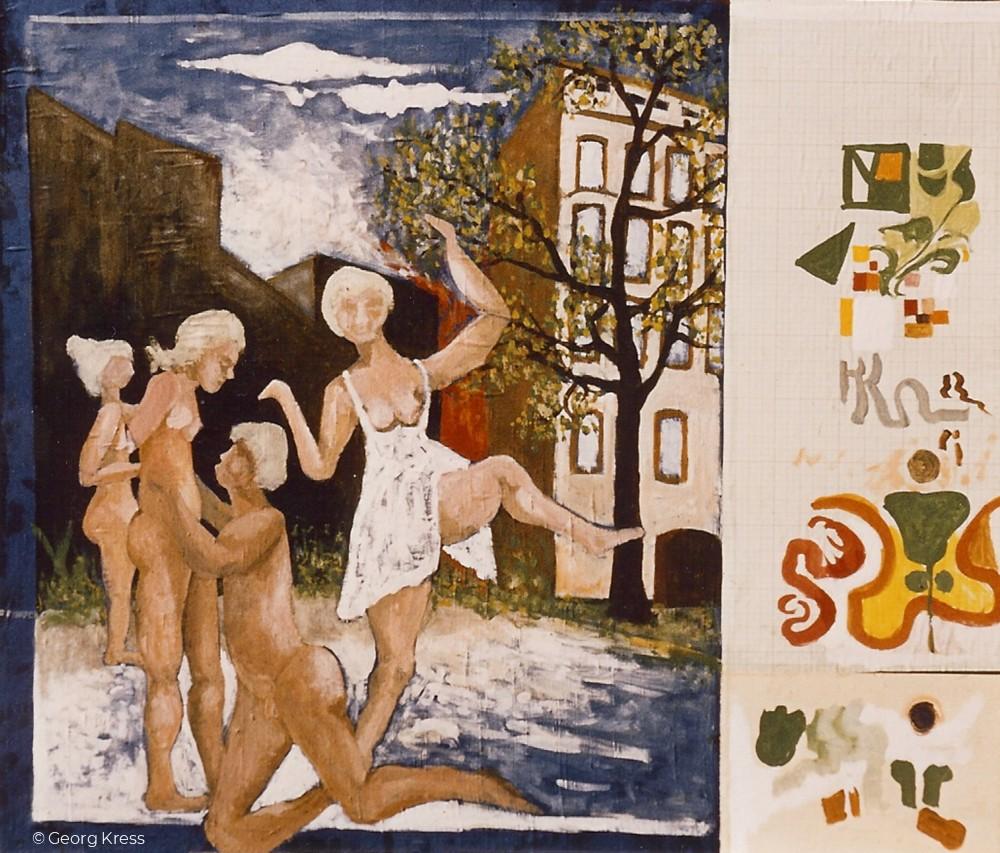 Crellestraße Berlin. 1980. Eitempera auf Seide, Papier.