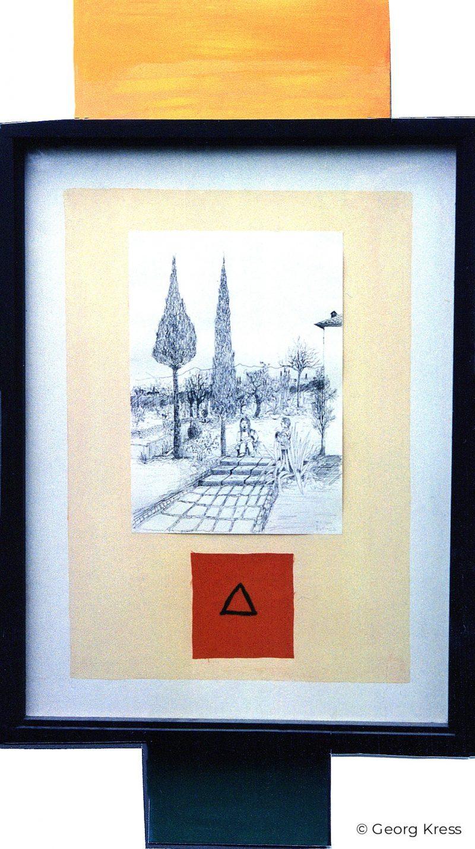 Im Toskanischen Garten Piansalipano. 1994. Federzeichnung, Dispersion auf Papier, Seide, Holz.