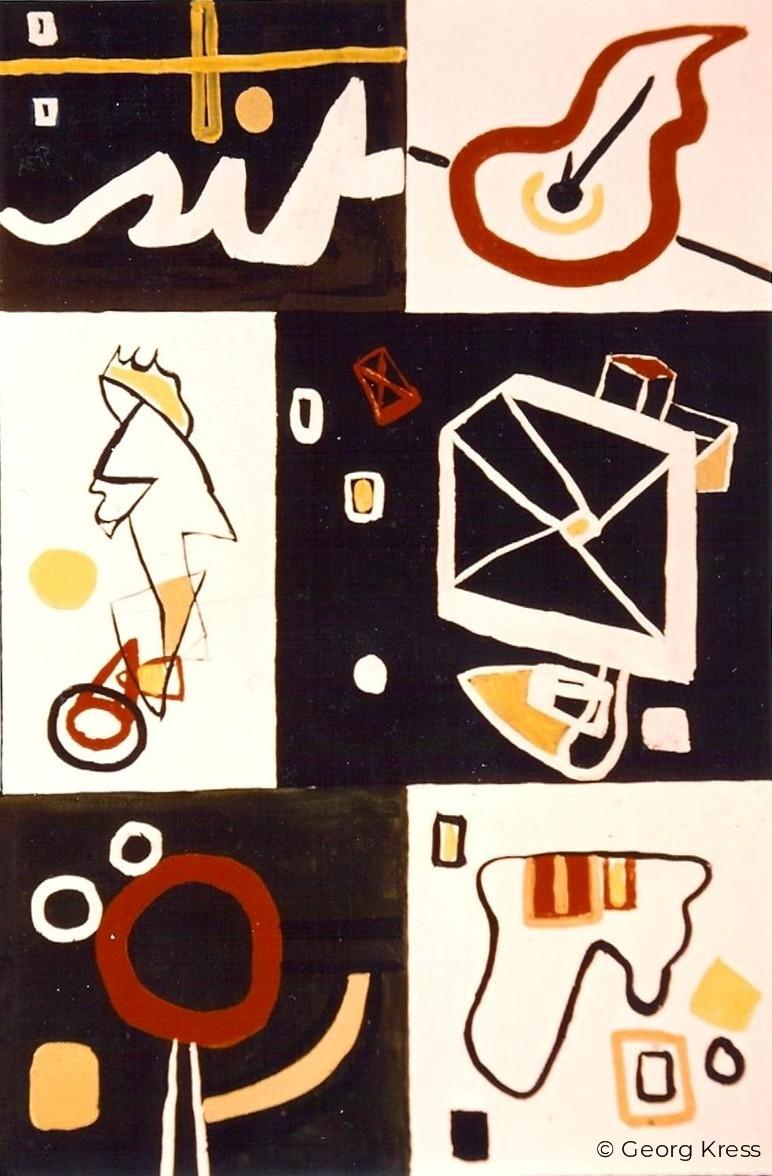 Im Weltall eine Komposition. 1964. Tempera, Öl auf Leinwand.