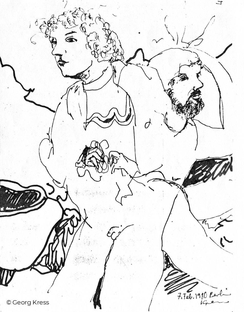 Interaktion. 1980. Federzeichnung auf Papier.