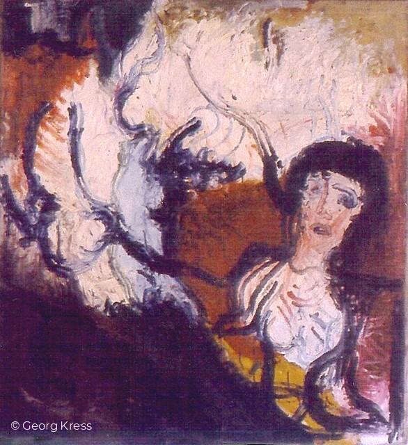 Johanna von Orleans in Flammen. 1962. Tempera, Öl auf Leinwand.