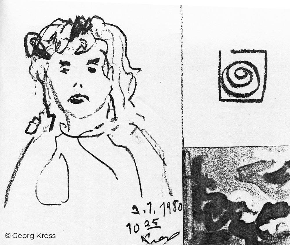 Junge Frau I. 1980. Tusche auf Papier.
