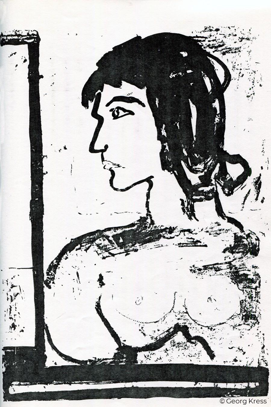 Junge Frau III. 1980. Tusche auf Papier.