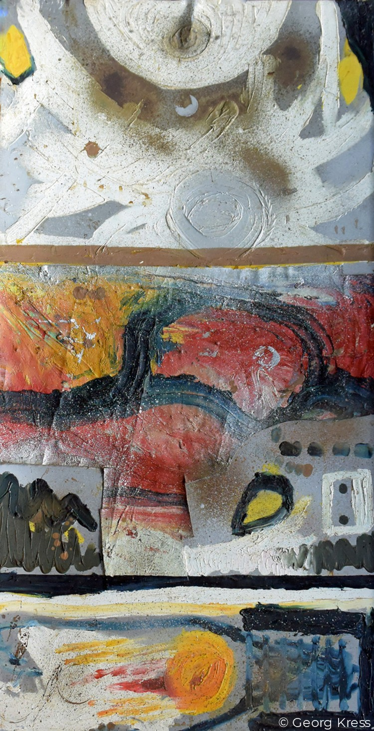Kosmos. 1963. Öl auf Leinwand und Aluminium.