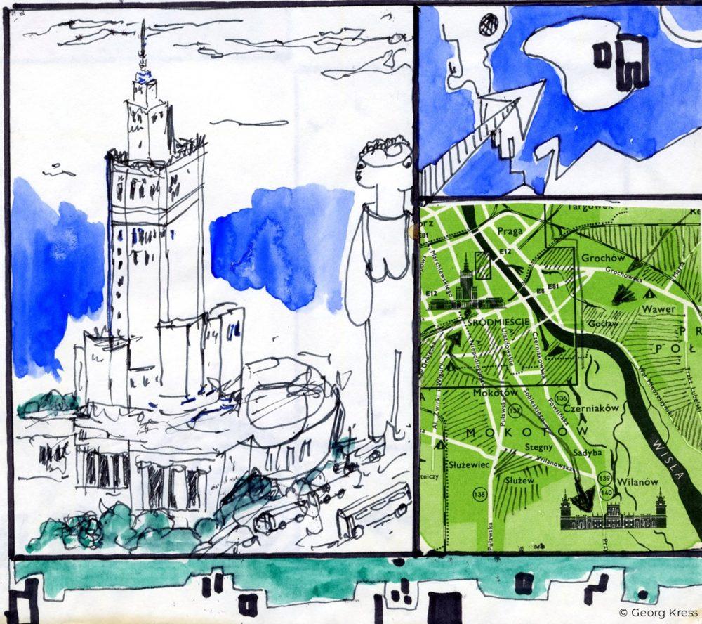 Kulturpalast von Warschau. 1980. Zeichnung, Aquarell auf Papier.