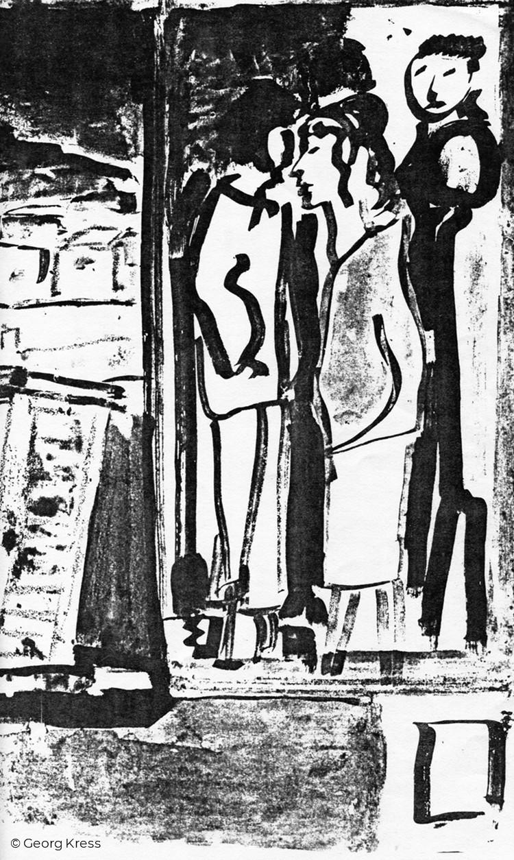 Leute in der Stadt. 1980. Tusche, Aquarell auf Papier.