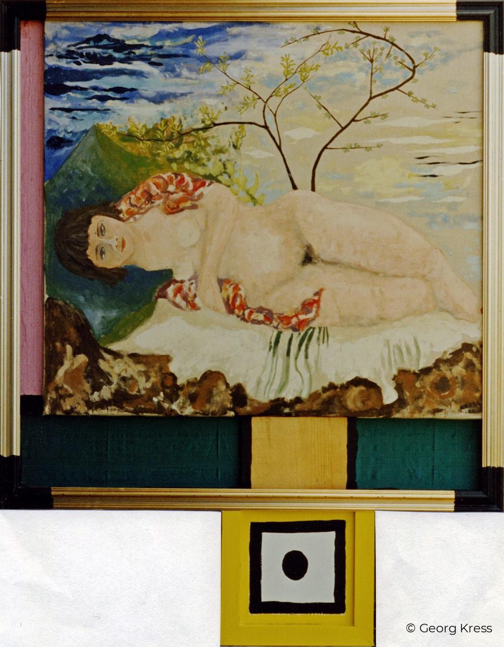 Liegender Akt im Frühling. 1991. Eitempera, Öl auf Seide, Holz.