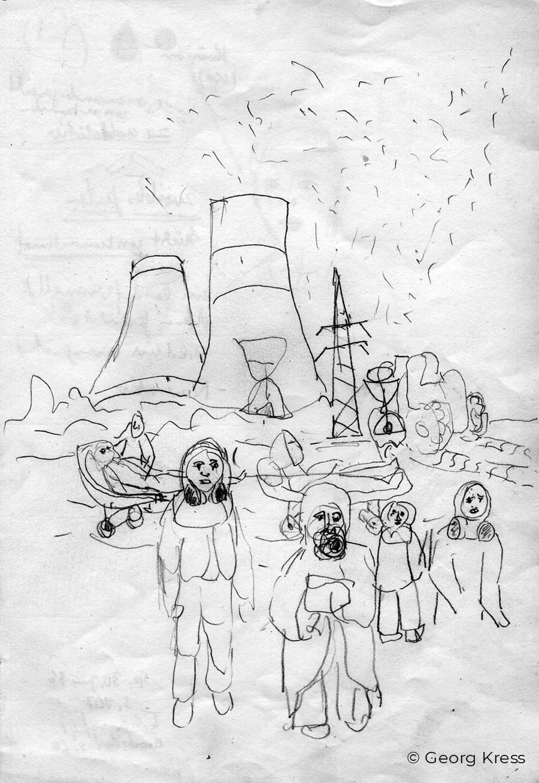 O Tschernobyl. 1989. Zeichnung auf Papier.